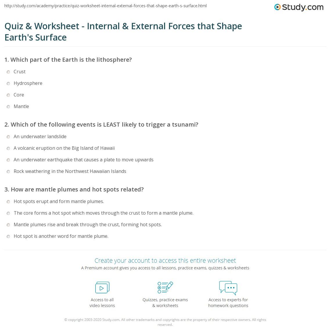 hight resolution of Quiz \u0026 Worksheet - Internal \u0026 External Forces that Shape Earth's Surface    Study.com