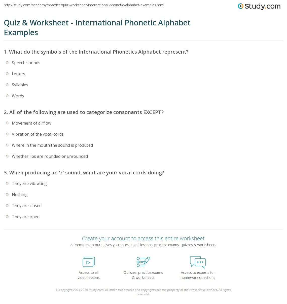 International Phonetic Alphabet Worksheet