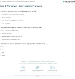 Quiz \u0026 Worksheet - Interrogative Pronouns   Study.com [ 1169 x 1140 Pixel ]