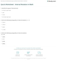 Quiz & Worksheet - Interval Notation in Math | Study.com
