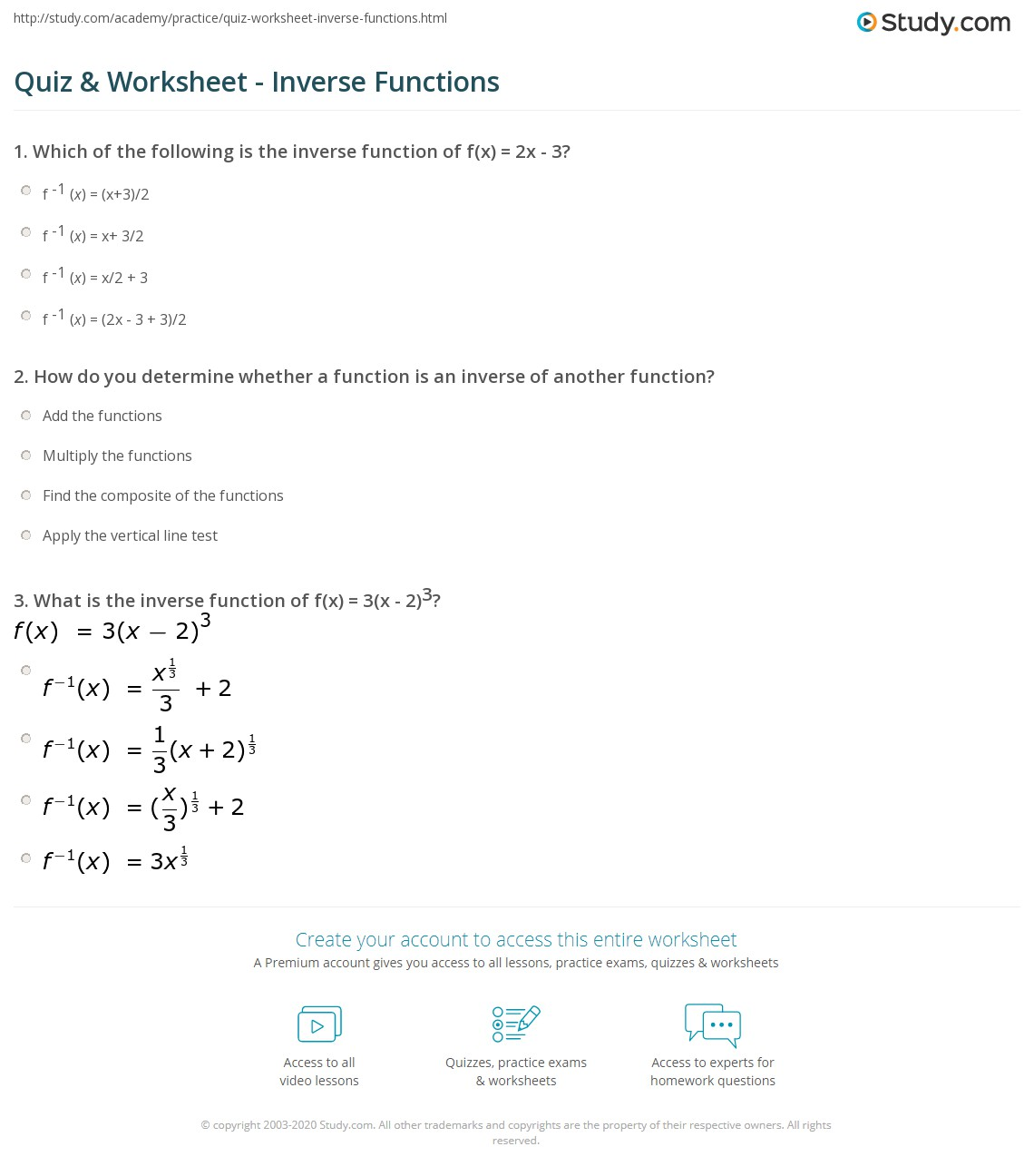 Algebra 2 Inverse Functions Worksheet