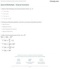 Quiz & Worksheet - Inverse Functions | Study.com