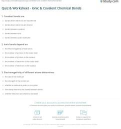 Quiz \u0026 Worksheet - Ionic \u0026 Covalent Chemical Bonds   Study.com [ 1241 x 1140 Pixel ]