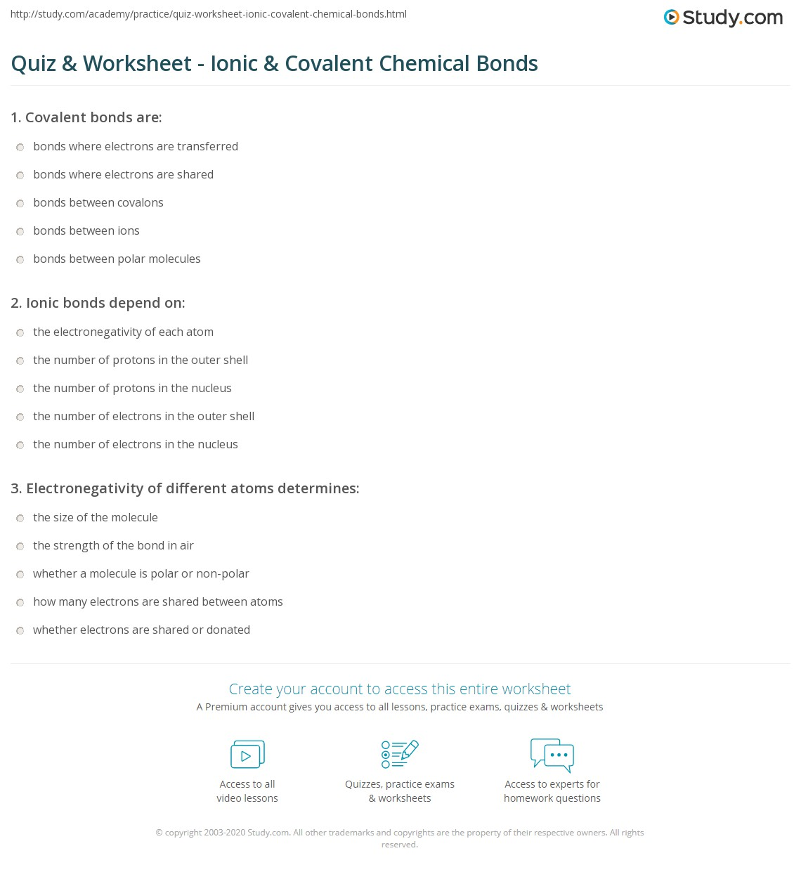 hight resolution of Quiz \u0026 Worksheet - Ionic \u0026 Covalent Chemical Bonds   Study.com