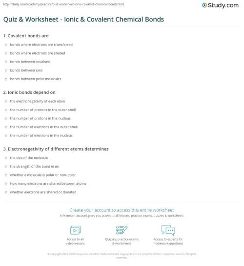 small resolution of Quiz \u0026 Worksheet - Ionic \u0026 Covalent Chemical Bonds   Study.com