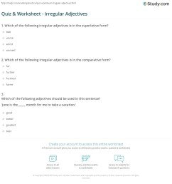 Quiz \u0026 Worksheet - Irregular Adjectives   Study.com [ 1201 x 1140 Pixel ]