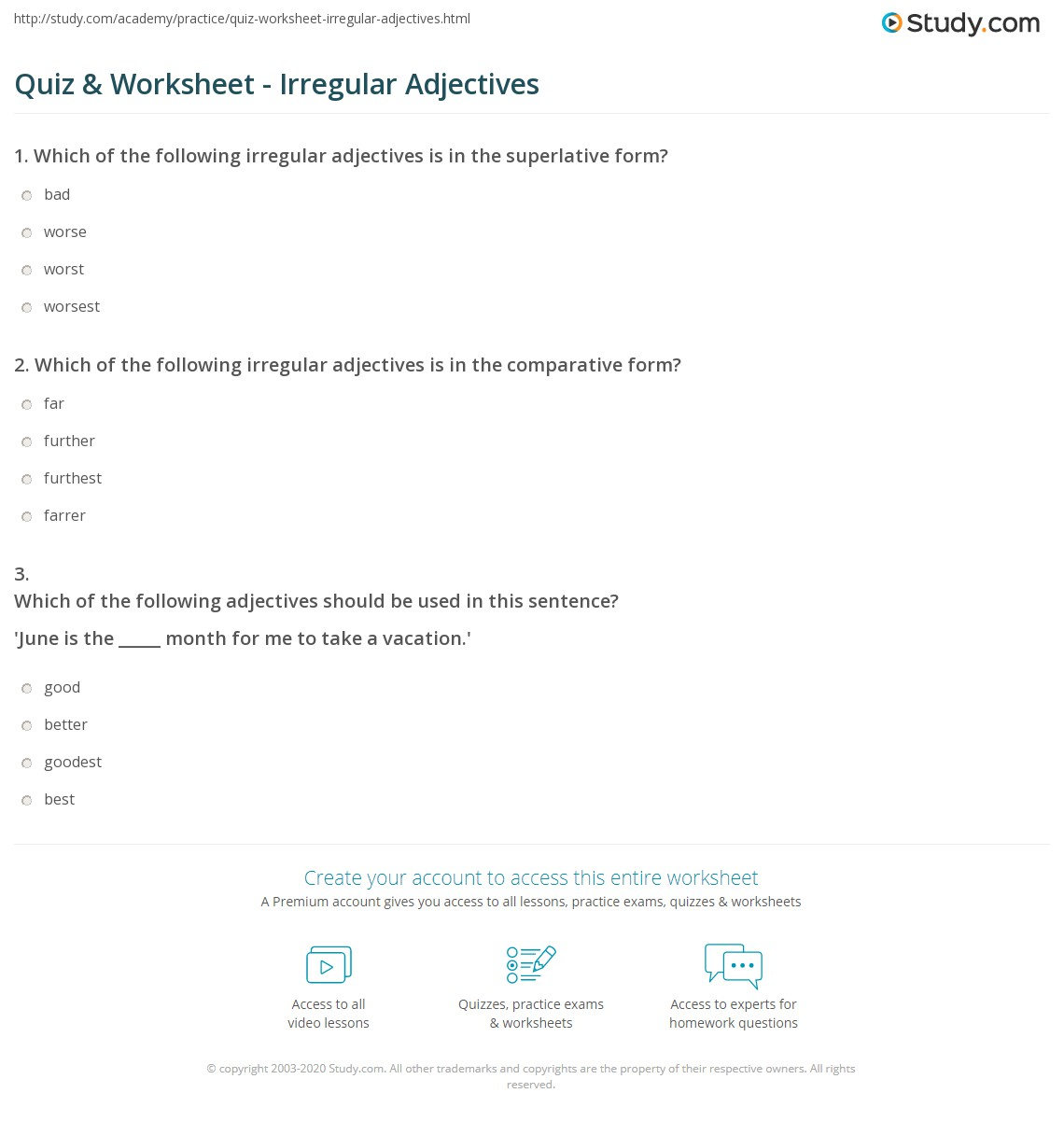 hight resolution of Quiz \u0026 Worksheet - Irregular Adjectives   Study.com