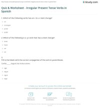 Quiz & Worksheet - Irregular Present Tense Verbs in ...