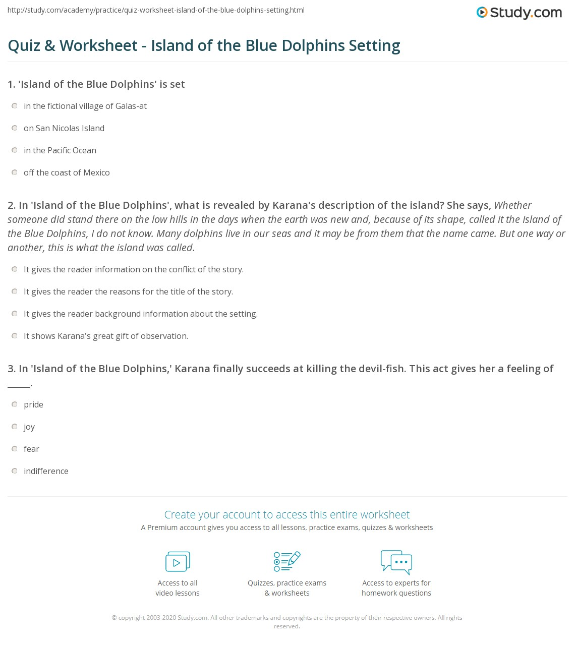 The Island Worksheet Answers