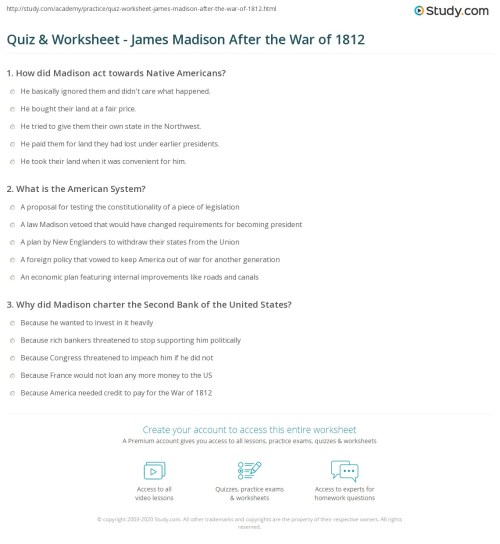 small resolution of The War Of 1812 Map Study Worksheet   Printable Worksheets and Activities  for Teachers