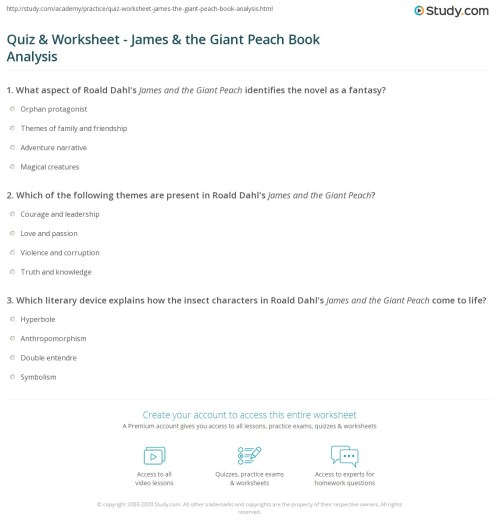 small resolution of Quiz \u0026 Worksheet - James \u0026 the Giant Peach Book Analysis   Study.com
