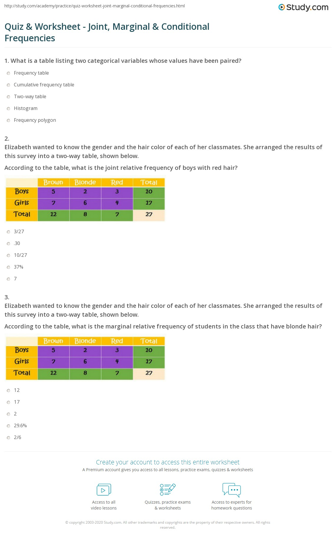 Two Way Frequency Table Worksheet Kuta Software