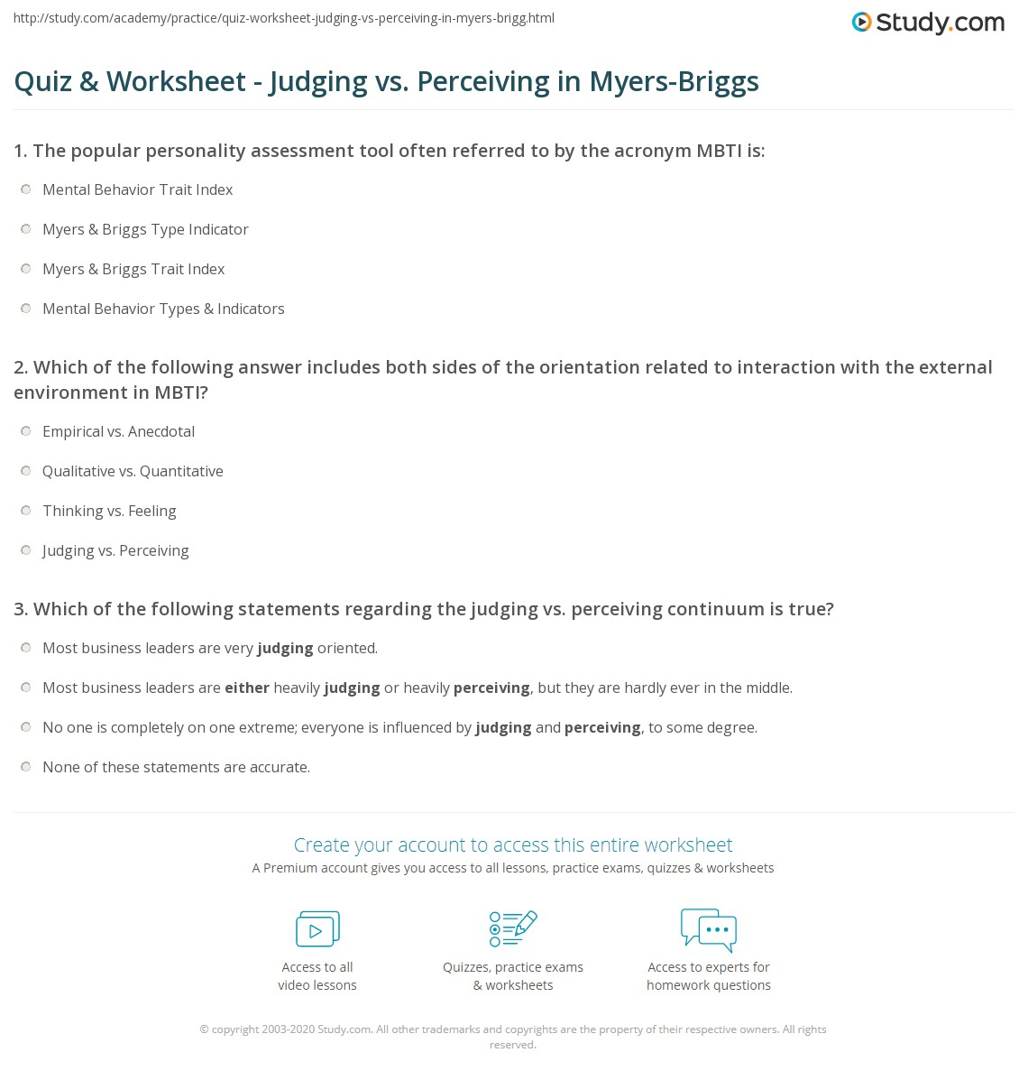 Myers Briggs Printable Test That Are Decisive
