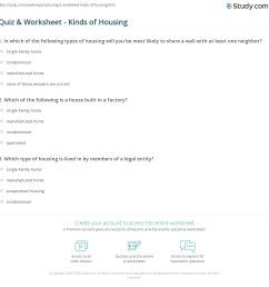 Quiz \u0026 Worksheet - Kinds of Housing   Study.com [ 1169 x 1140 Pixel ]