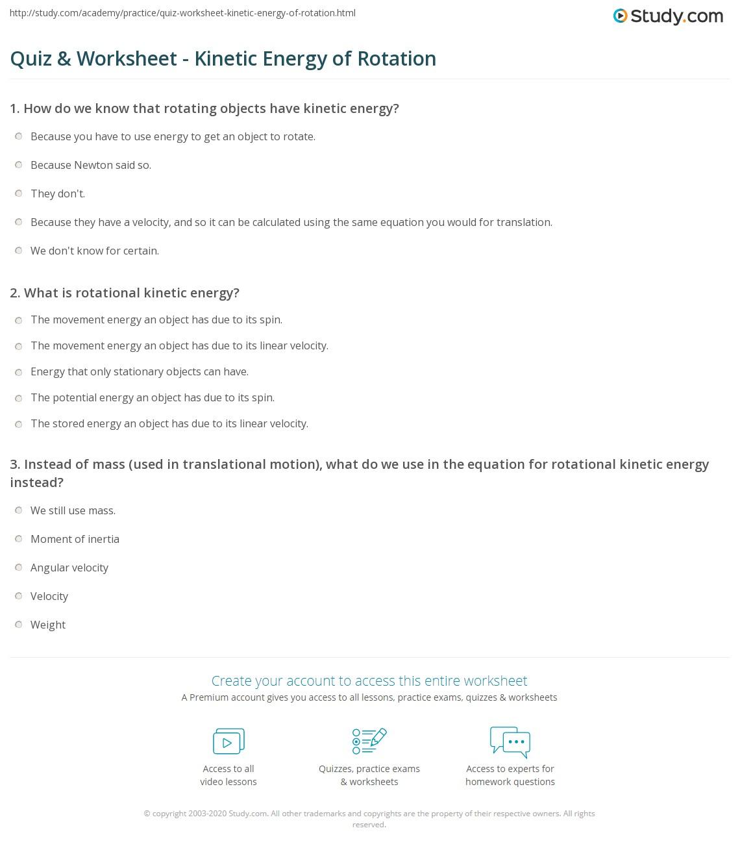 Quiz W Ksheet Ki Ic Energy Of Rot Ti Study