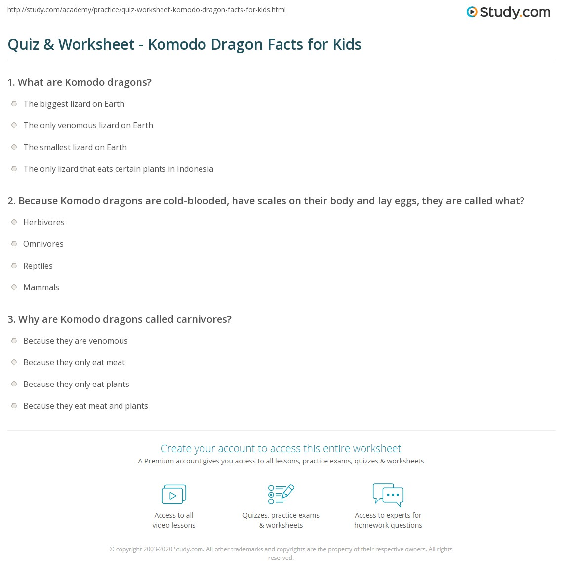 hight resolution of Komodo Dragon Worksheet