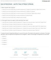 Answers Specific Heat Worksheet Physical Science. Answers ...