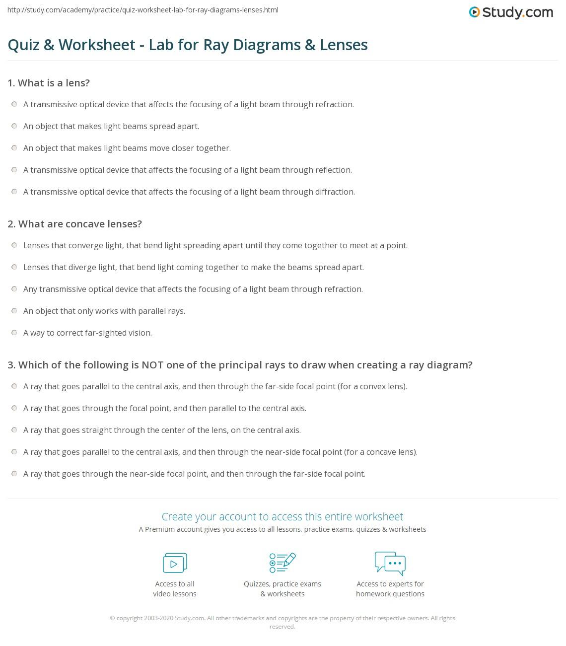 hight resolution of print ray diagrams lenses physics lab worksheet