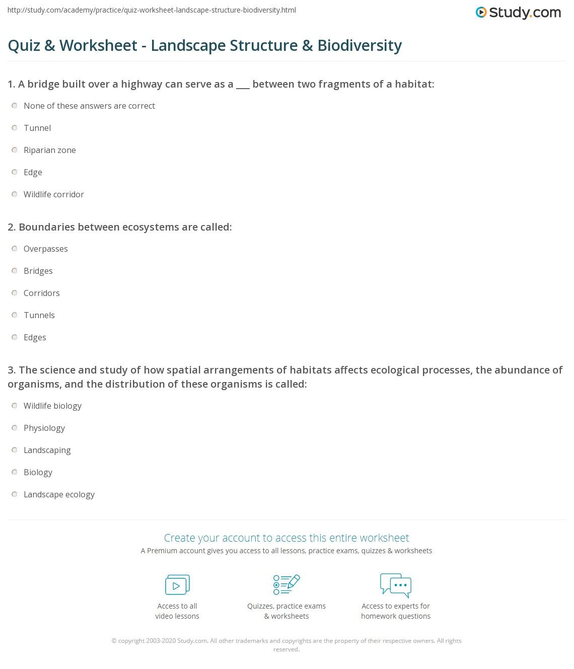 Biodiversity Worksheet