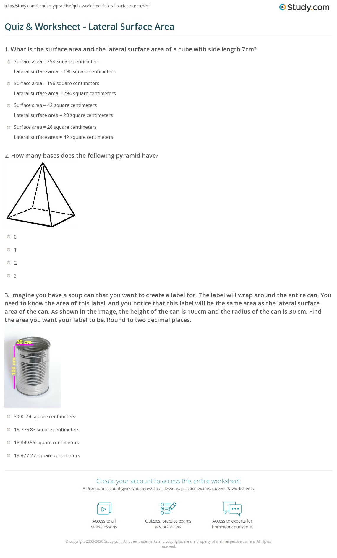 Volume Worksheet Gcse