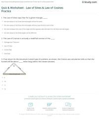 Quiz & Worksheet - Law of Sines & Law of Cosines Practice ...