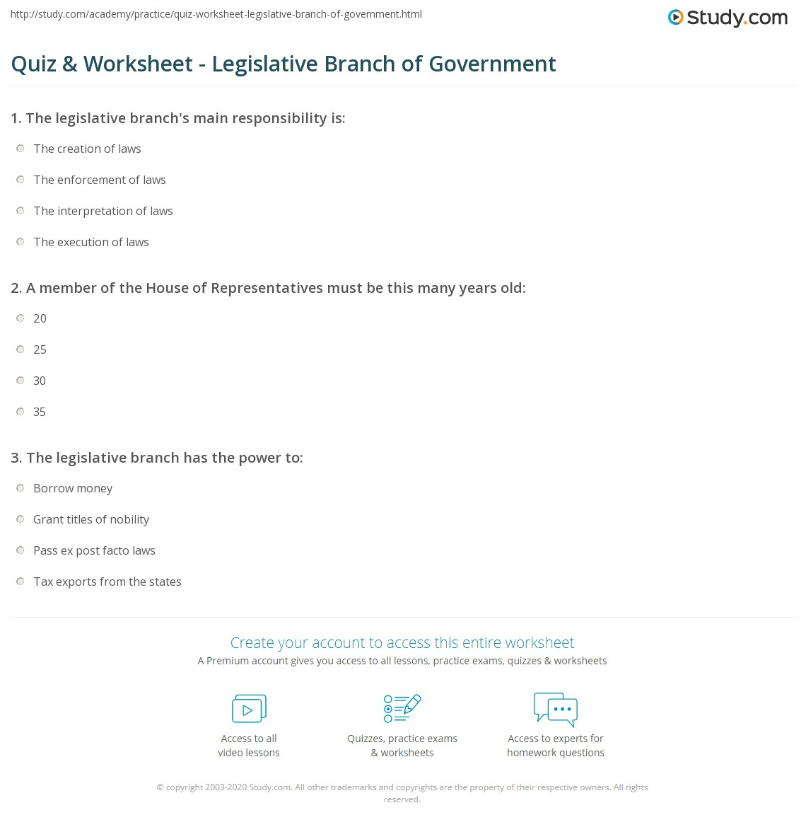 Legislative For High School Civics Worksheets Legislative