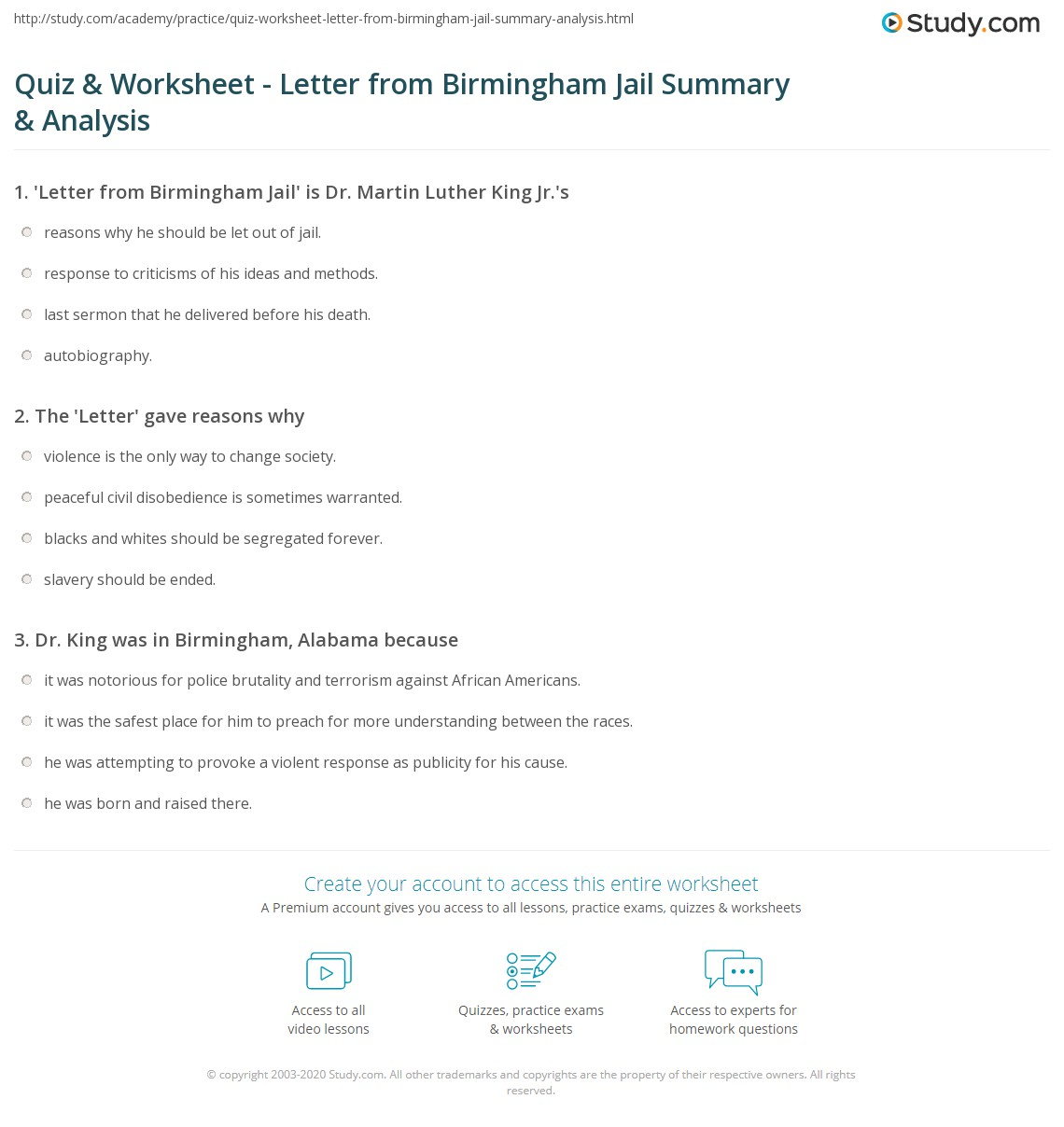Lesson Plans Letter From Birmingham Jail