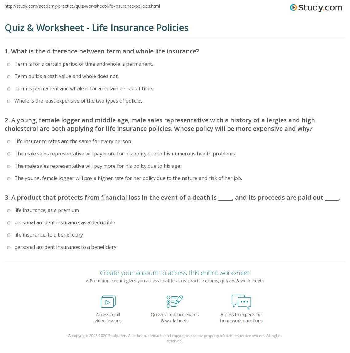 Quiz W Ksheet L E Sur Nce Policies Study