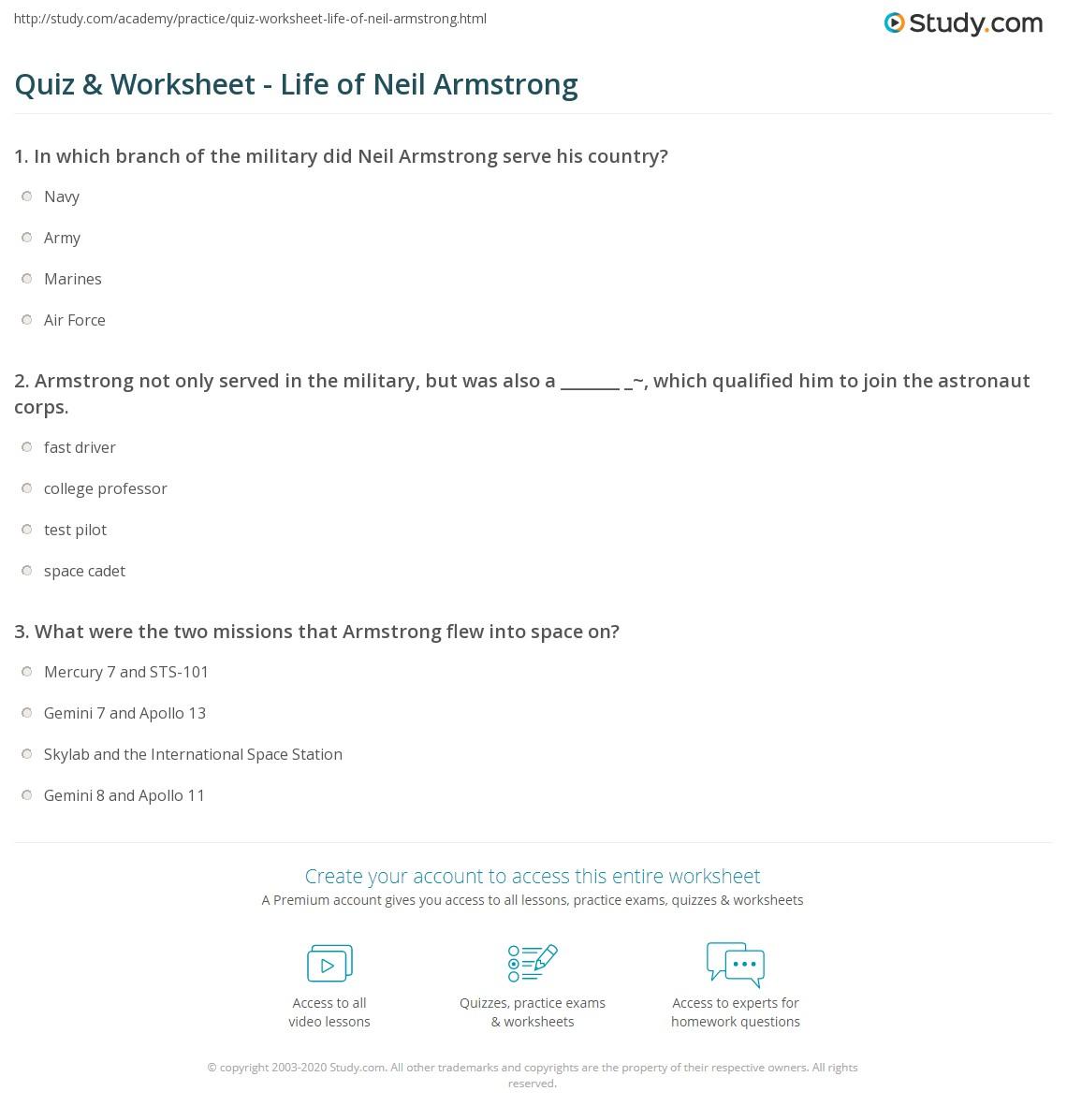 Neil Armstrong Worksheet