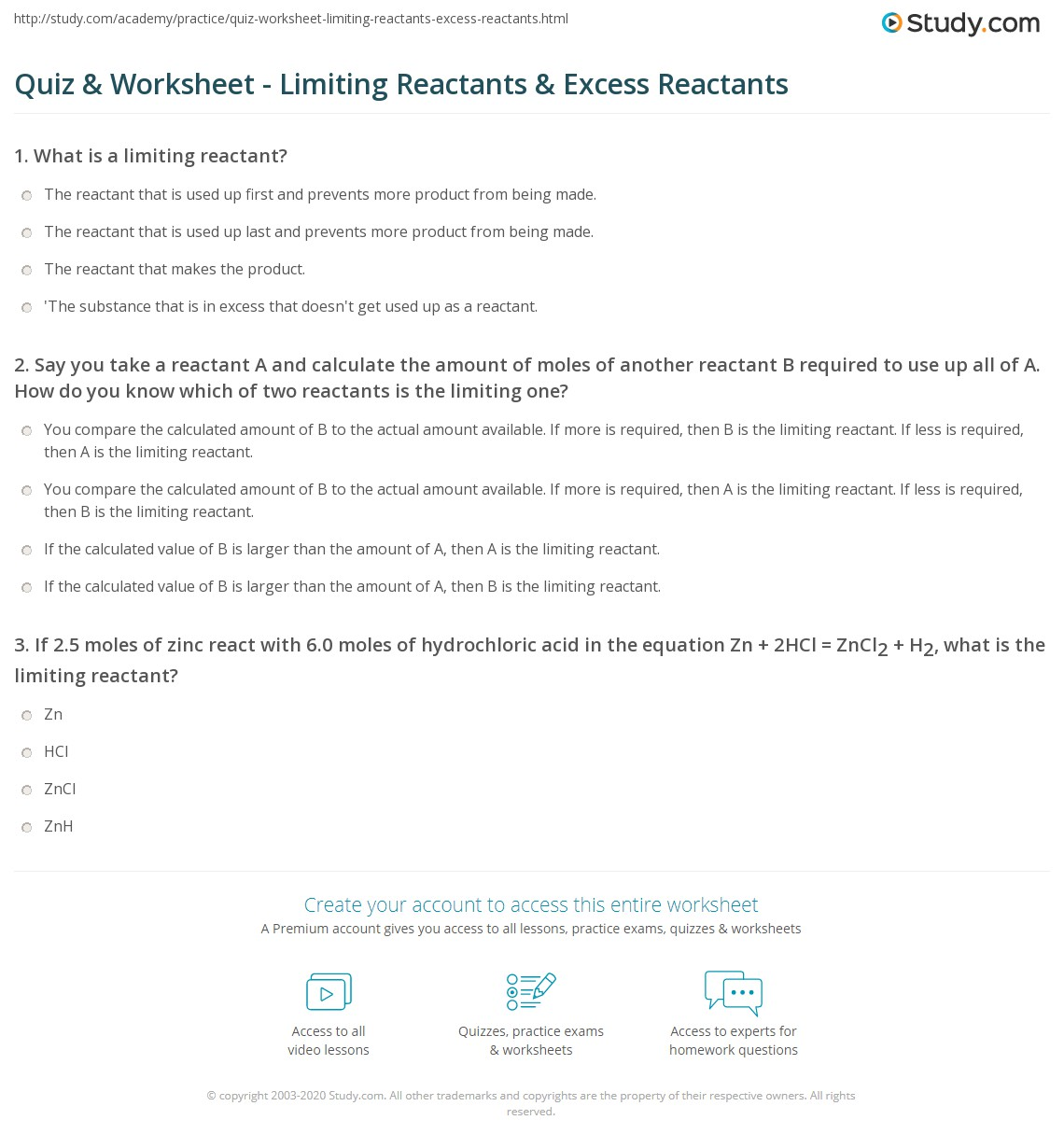 Quiz & Worksheet  Limiting Reactants & Excess Reactants  Studycom