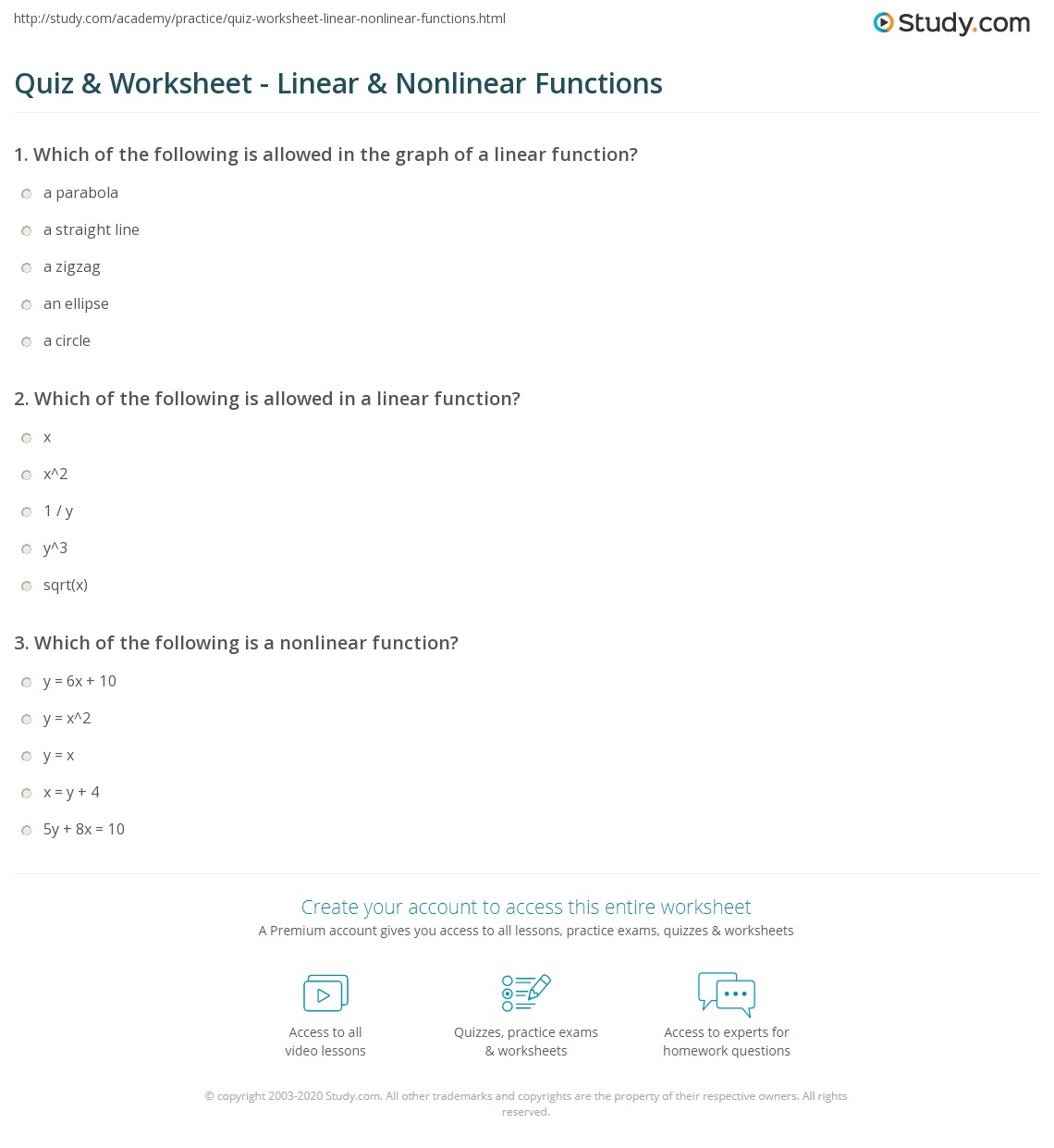 hight resolution of Quiz \u0026 Worksheet - Linear \u0026 Nonlinear Functions   Study.com
