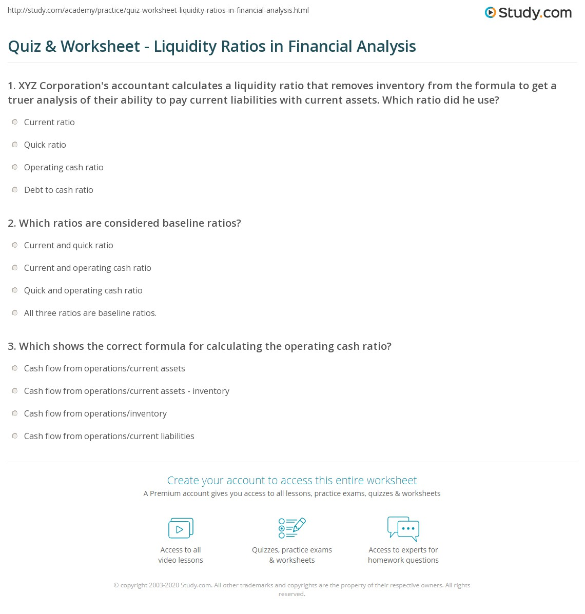 Liquidity Fillable Worksheet