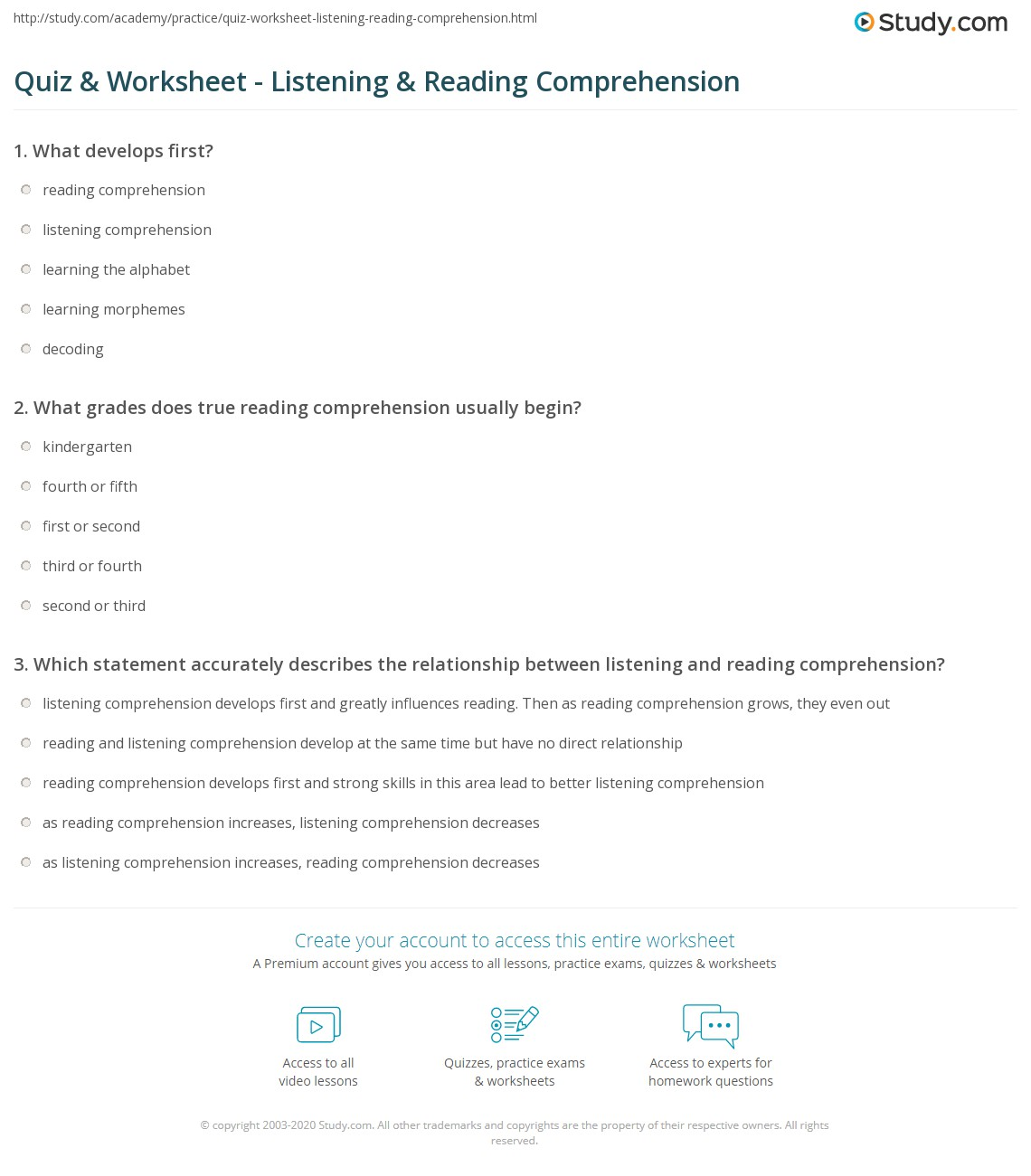 Listening Comprehension Worksheets Grade 1