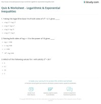 Quiz & Worksheet - Logarithmic & Exponential Inequalities ...