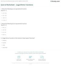 Quiz & Worksheet - Logarithmic Functions | Study.com