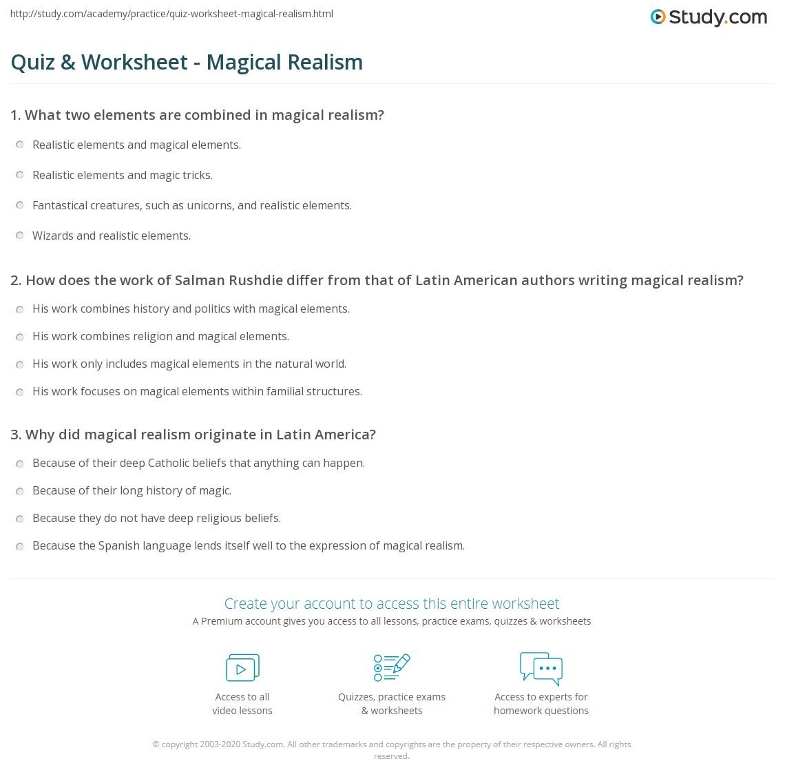 Quiz W Ksheet M Gic L Re Lism Study
