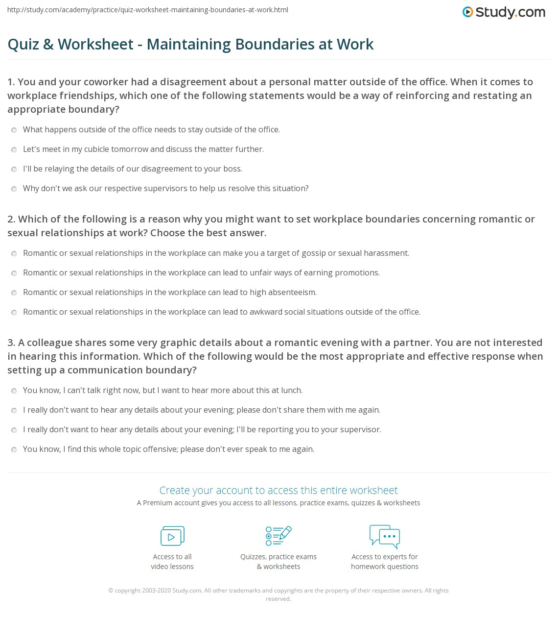 Maintaining Healthy Boundaries Worksheet
