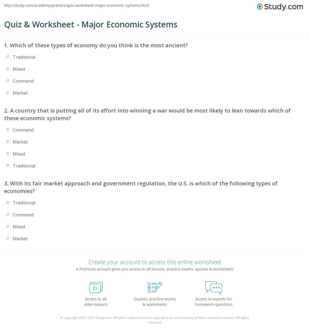 medium resolution of Economic Systems Worksheet Answers - Worksheet List