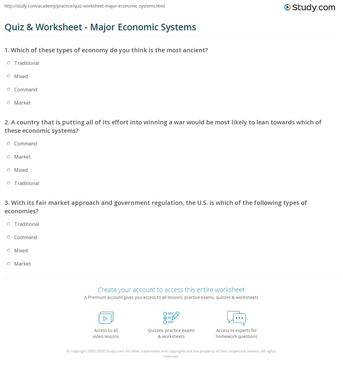 hight resolution of Economic Systems Worksheet Answers - Worksheet List
