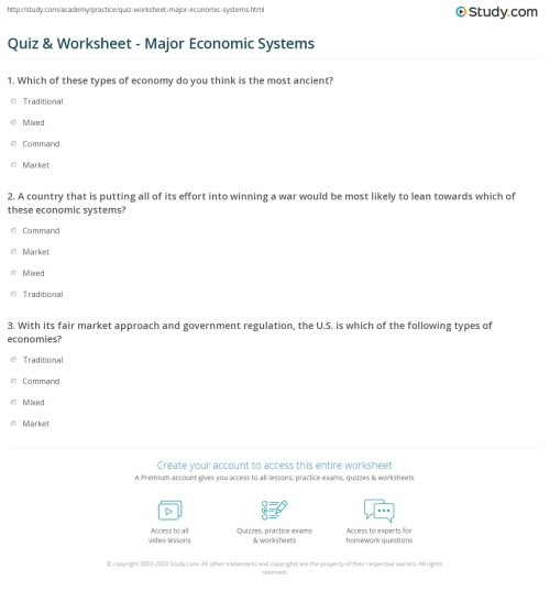 small resolution of Economic Systems Worksheet Answers - Worksheet List