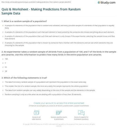 small resolution of Quiz \u0026 Worksheet - Making Predictions from Random Sample Data   Study.com