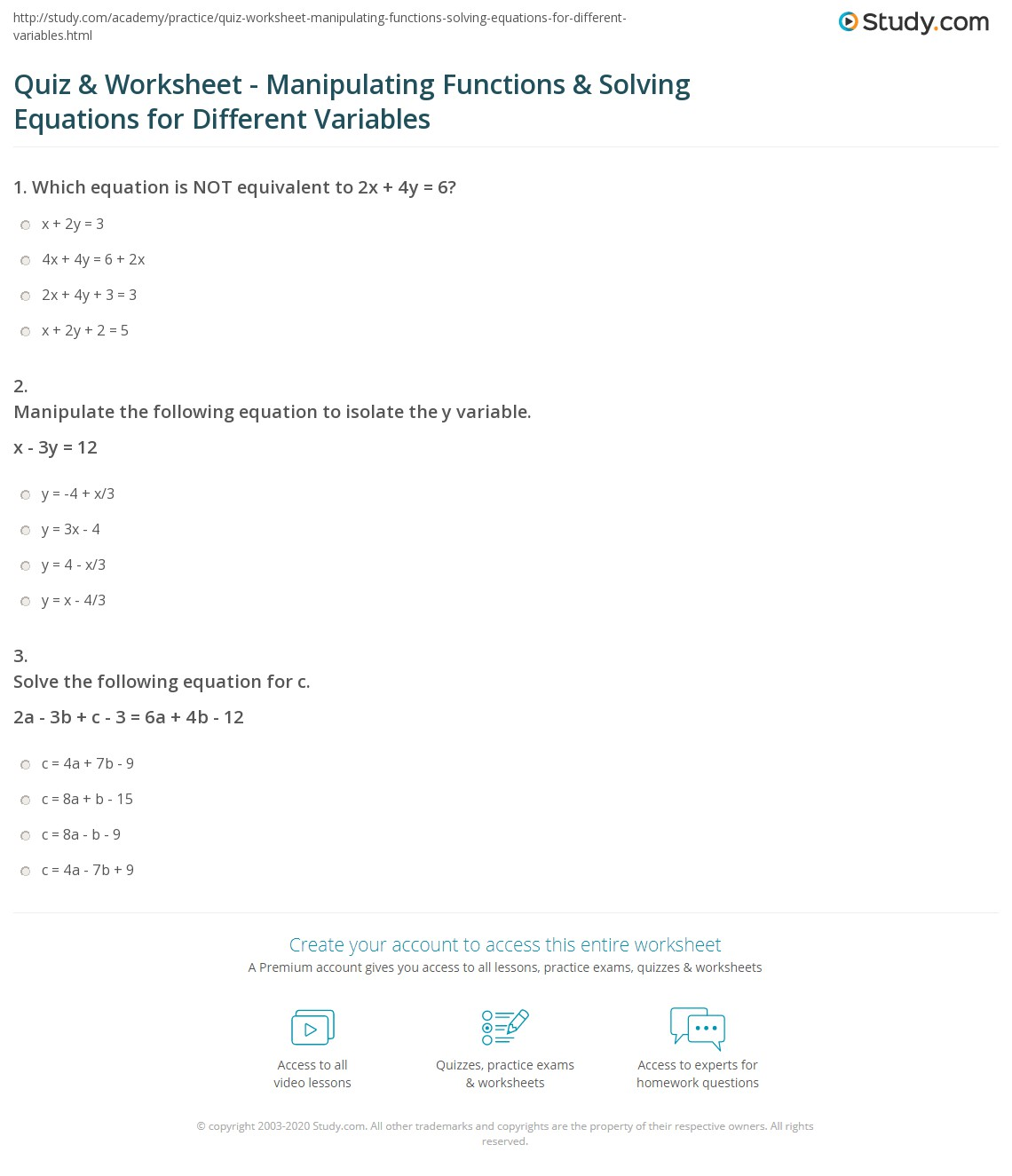 Practice 3 Equations With Variables On Both Sides