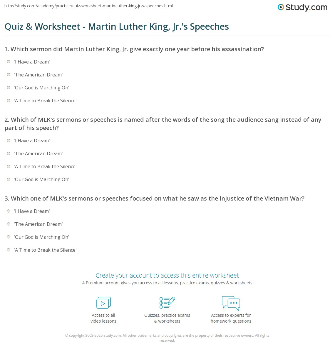 Dr Martin Luther King Jr Comprehension Worksheets