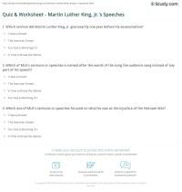 Quiz & Worksheet - Martin Luther King, Jr.'s Speeches ...