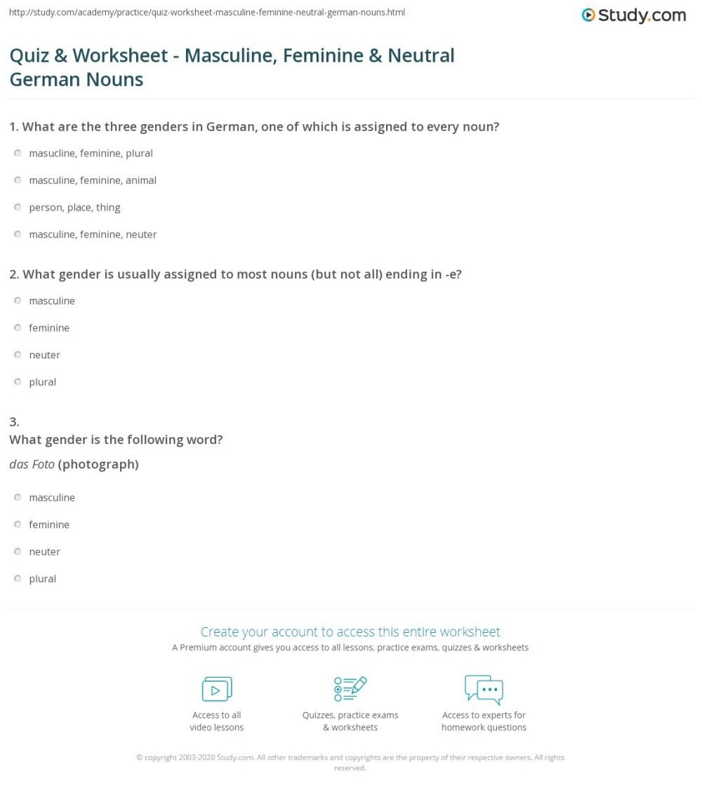 medium resolution of Quiz \u0026 Worksheet - Masculine