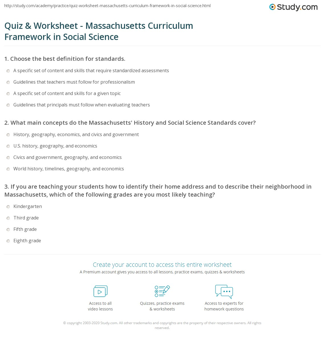 hight resolution of Quiz \u0026 Worksheet - Massachusetts Curriculum Framework in Social Science    Study.com