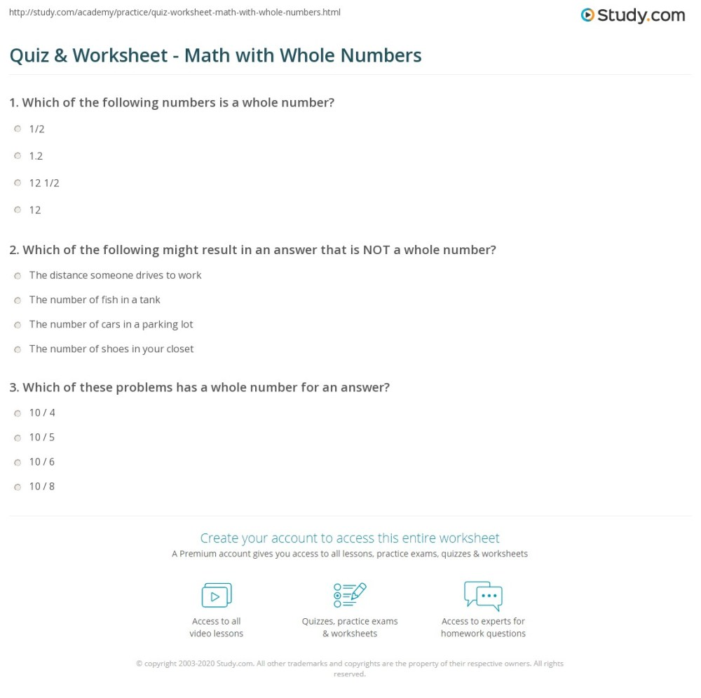 medium resolution of Quiz \u0026 Worksheet - Math with Whole Numbers   Study.com