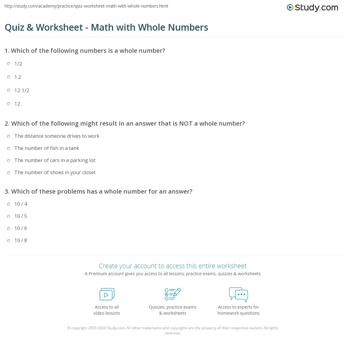 hight resolution of Quiz \u0026 Worksheet - Math with Whole Numbers   Study.com
