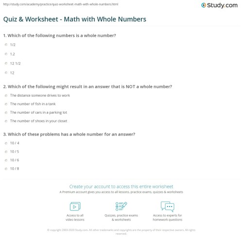 small resolution of Quiz \u0026 Worksheet - Math with Whole Numbers   Study.com