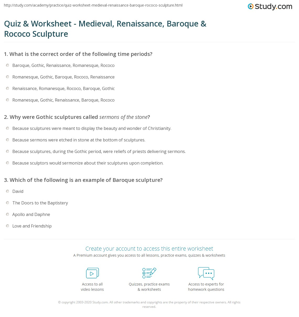 Renaissance Music Worksheets